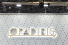 Logo sign of Opadiris company. Opadiris is a producer of sanitary products and bath furniture. Moscow, Russia - April, 2017: Logo sign of Opadiris company royalty free stock image