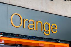 Logo and sign of Orange mobile company belong to French multinational telecommunications corporation. Barcelona, Spain - June 8, 2018: Logo and sign of Orange royalty free stock image
