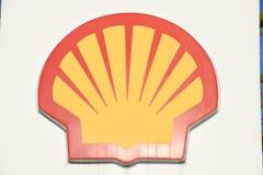 Logo sign of Shell gas station at Lugano on Switzerland. Lugano, Switzerland - 1 December 2016: Logo sign of Shell gas station at Lugano on Switzerland stock image