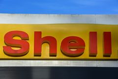 Logo sign of Shell gas station at Lugano on Switzerland. Lugano, Switzerland - 1 December 2016: Logo sign of Shell gas station at Lugano on Switzerland stock images