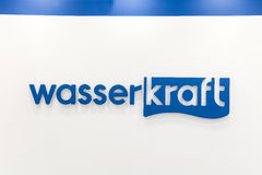Logo sign of Wasser Kraft company. Wasserkraft is a German producer of sanitary products and bath furniture. Moscow, Russia - April, 2017: Logo sign of Wasser royalty free stock photography