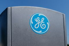 Lafayette - Circa July 2018: Logo and Signage of General Electric. GE was recently dropped from the Dow 30 VIII. Logo and Signage of General Electric. GE was Stock Image