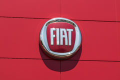 Indianapolis - Circa August 2017: Logo and signage of local Fiat dealership. Fiat is part of FCA II. Logo and signage of local Fiat dealership. Fiat is part of stock photos