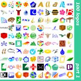 Logo and signs 1. Set of 100 logos and graphic elements Royalty Free Stock Photo