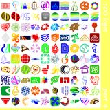 Logo and signs 4. Set of 100 logos and graphic elements Stock Photos