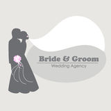 Logo with silhouettes of happy bride and groom Royalty Free Stock Image