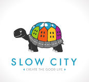 Logo - Slow city. Turtle with town on his back Stock Photo