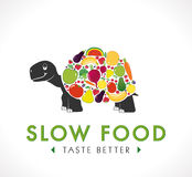 Logo - Slow food. Turtle with fruit and vegetables on his back Royalty Free Stock Images