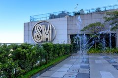The Logo at SM Aura Premier building, Shopping mall in Taguig, Philippines. Manila, Philippines - Feb 24, 2018 : The Logo at SM Aura Premier building, Shopping Stock Photography