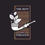 Logo smokoing drymba z tytoni liśćmi i formułuje najlepszy oryginalnego tytoniu na czarnym tle Fotografia Royalty Free