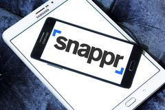 Snappr technology company logo. Logo of Snappr technology company on samsung mobile. Snappr is a technology company headquartered in San Francisco whose primary Royalty Free Stock Photos