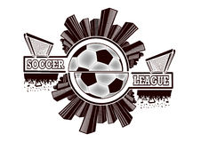 Logo soccer league. With urban elements and the silhouette football atmosphere on the background of a soccer ball. Vector illustration Royalty Free Stock Photo