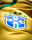 The logo of the soccer organization CBF Brasil on an official jersey Stock Photo