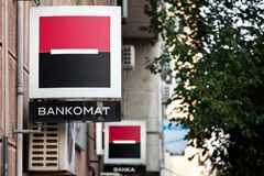 Logo of Societe Generale on one of their branches also called Societe generale Srbija indicating an ATM Bankomat. Picture of the logo of Societe Generale in stock image