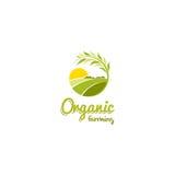 Logo soleggiato astratto isolato del prato di forma rotonda di colore verde, illustrazione agricola di vettore del logotype illustrazione di stock