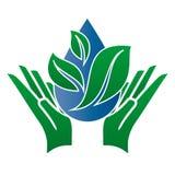 Logo som symboliserar vattnet och naturen Arkivfoto