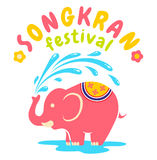 Logo for Songkran festival. Vector logo for Songkran festival in Thailand with elephant Royalty Free Stock Photo