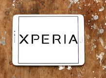 Sony Xperia logo. Logo of Sony Xperia on samsung tablet. Xperia is the brand name of smartphones and tablets from Sony Mobile Royalty Free Stock Photo