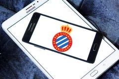 Espanyol soccer club logo. Logo of spanish Espanyol soccer club on samsung mobile Stock Photos