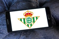 Real Betis soccer club logo. Logo of spanish soccer club Real Betis on samsung mobile royalty free stock photos
