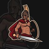 Logo spartiate de sport du guerrier e illustration stock