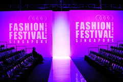 Logo and spectator gallery of Audi Fashion Festival 2011 Royalty Free Stock Photography