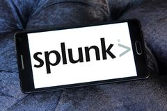 Splunk company logo. Logo of Splunk company on samsung mobile. Splunk is an American multinational corporation that produces software for searching, monitoring Royalty Free Stock Photos