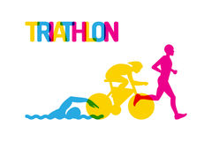 Logo sport triathlon. Banner on the theme of sport, triathlon. Silhouettes of athletes, swimmer, cyclist, runner, drawn on a white isolated background, colored Stock Photography