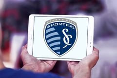Sporting Kansas City Soccer Club logo. Logo of Sporting Kansas City Soccer Club on samsung tablet. Sporting Kansas City is an American professional soccer club Royalty Free Stock Images