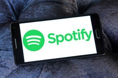 Spotify logo. Logo of Spotify on samsung mobile. Spotify is a music, podcast, and video streaming service royalty free stock images