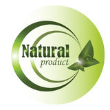 Logo with spring green leaves Royalty Free Stock Photo