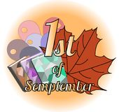 Logo 1st september with maple leaves vector. First of September. Logo with maple leaves. Vector EPS 10 royalty free illustration