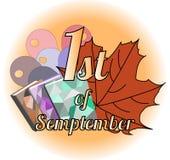 Logo 1st september med lönnlövvektorn royaltyfri illustrationer