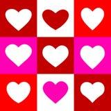 Logo stabilito di vettore del biglietto di S. Valentino di rosso del cuore di amore Fotografia Stock Libera da Diritti