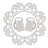 Logo or stamp Oktoberfest with the image of hops and beer mugs. Royalty Free Stock Photos