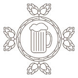 Logo or stamp Oktoberfest with the image of hops, malt and beer mugs. Royalty Free Stock Photography