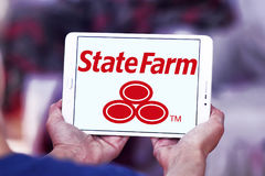 State Farm insurance logo. Logo of State Farm insurance company on samsung tablet . State Farm is a large group of insurance and financial services companies in Royalty Free Stock Photo