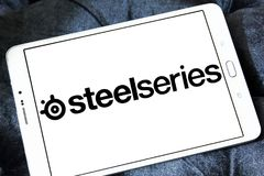 SteelSeries company logo. Logo of SteelSeries company on samsung tablet. steelseries is a Danish manufacturer of gaming peripherals and accessories, including Stock Photo