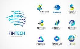 Logo stellte - fintech, blockchain, Technologie, Biotechnologie, Technologieikonen und Symbole ein lizenzfreie abbildung