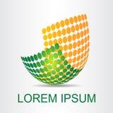 Logo stiliserad sfärisk yttersida med abstrakta former Arkivbild