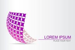 Logo stiliserad sfärisk yttersida med abstrakta former Royaltyfria Bilder