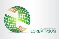 Logo stiliserad sfärisk yttersida med abstrakta former arkivfoto