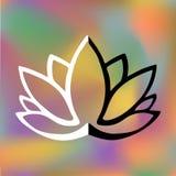 Logo stilizzato del fiore di loto su fondo vago luminoso Progettazione disegnata a mano di fantasia per il tatuaggio, panno del t illustrazione di stock