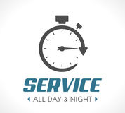 Logo - Stopwatch concept - all day and night. 247 service Royalty Free Stock Photo