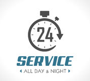 Logo - Stopwatch concept. All day and night - 247 service Stock Photos