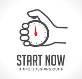 Logo - stopwatch in hand - start stock illustration