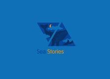 Logo, storie del mare, la balena nelle nuvole Immagine Stock