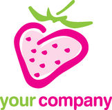 Logo strawberry fruit. Pink-green strawberry fruit logo for your company Stock Images