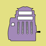 Logo style retro outlines. Cash register. Till. Vector Illustration Stock Photo