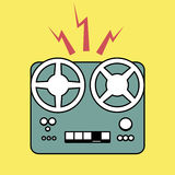 Logo style retro outlines. Tape recorder magnetophone. Vector Il. Lustration Stock Photos